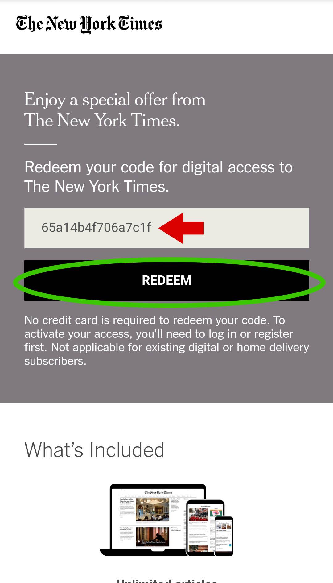 NYTimes Redeem Code
